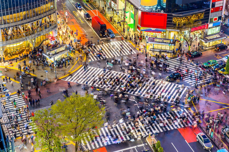Tokyo's famous intersection outside Shibuya Station