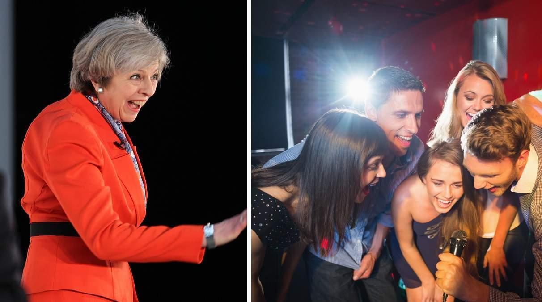 Theresa May karaoke