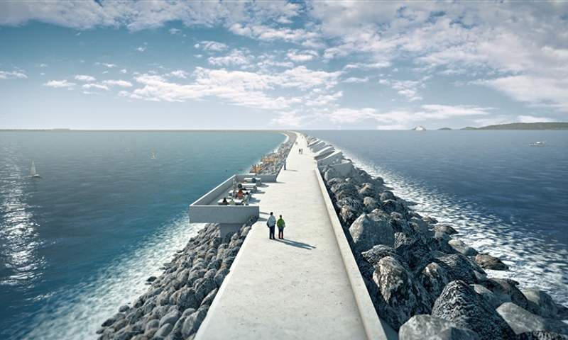 An artist's impression of the Swansea tidal lagoon.