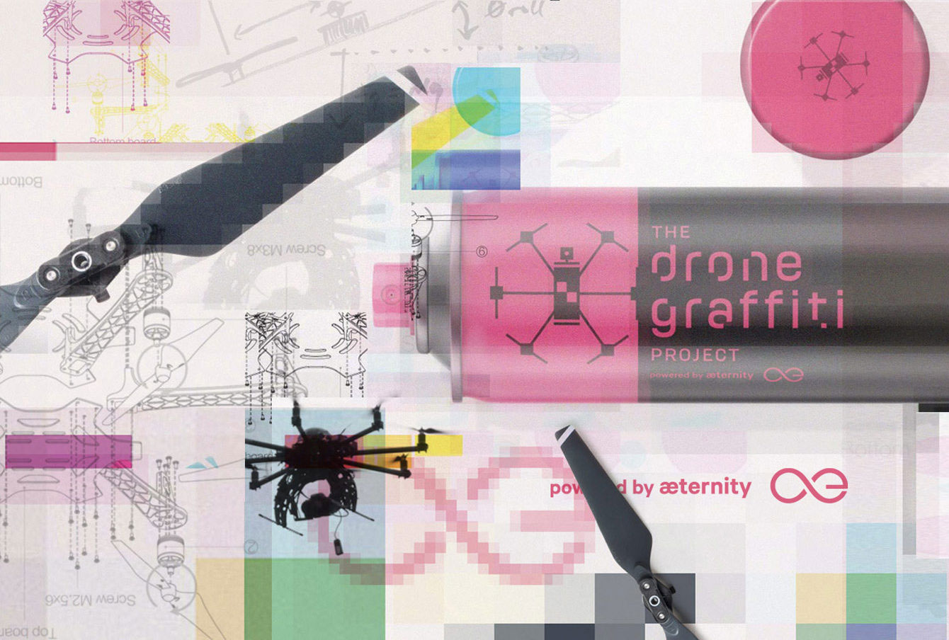 Blockchain drones from the Drone Graffiti Project
