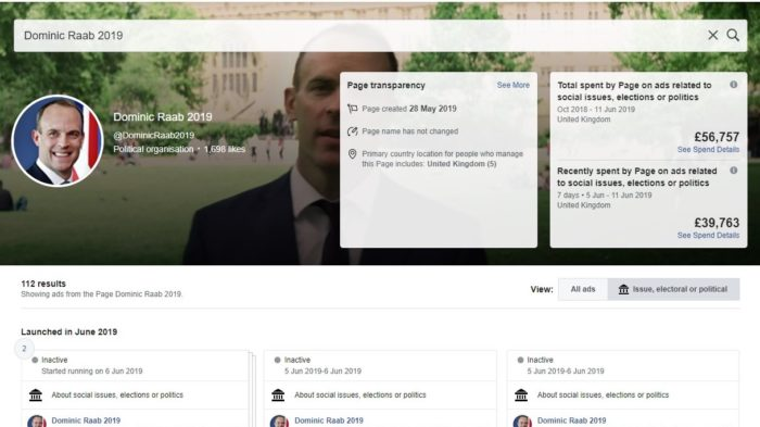 Dominic Raab Facebook ads