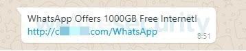 Fake WhatsApp message
