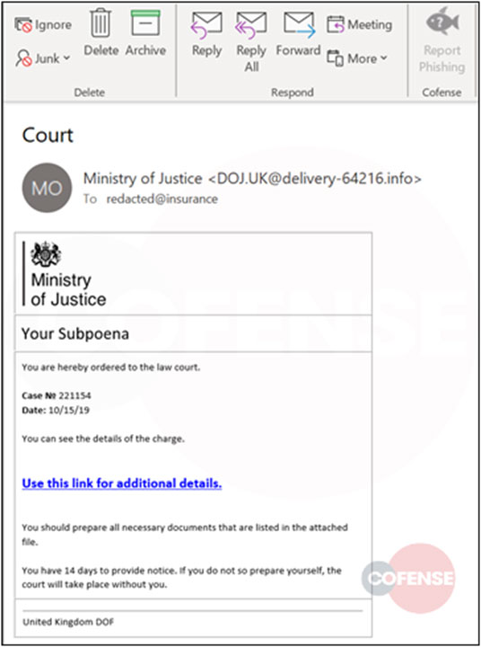 Ministry of Justice phishing campaign
