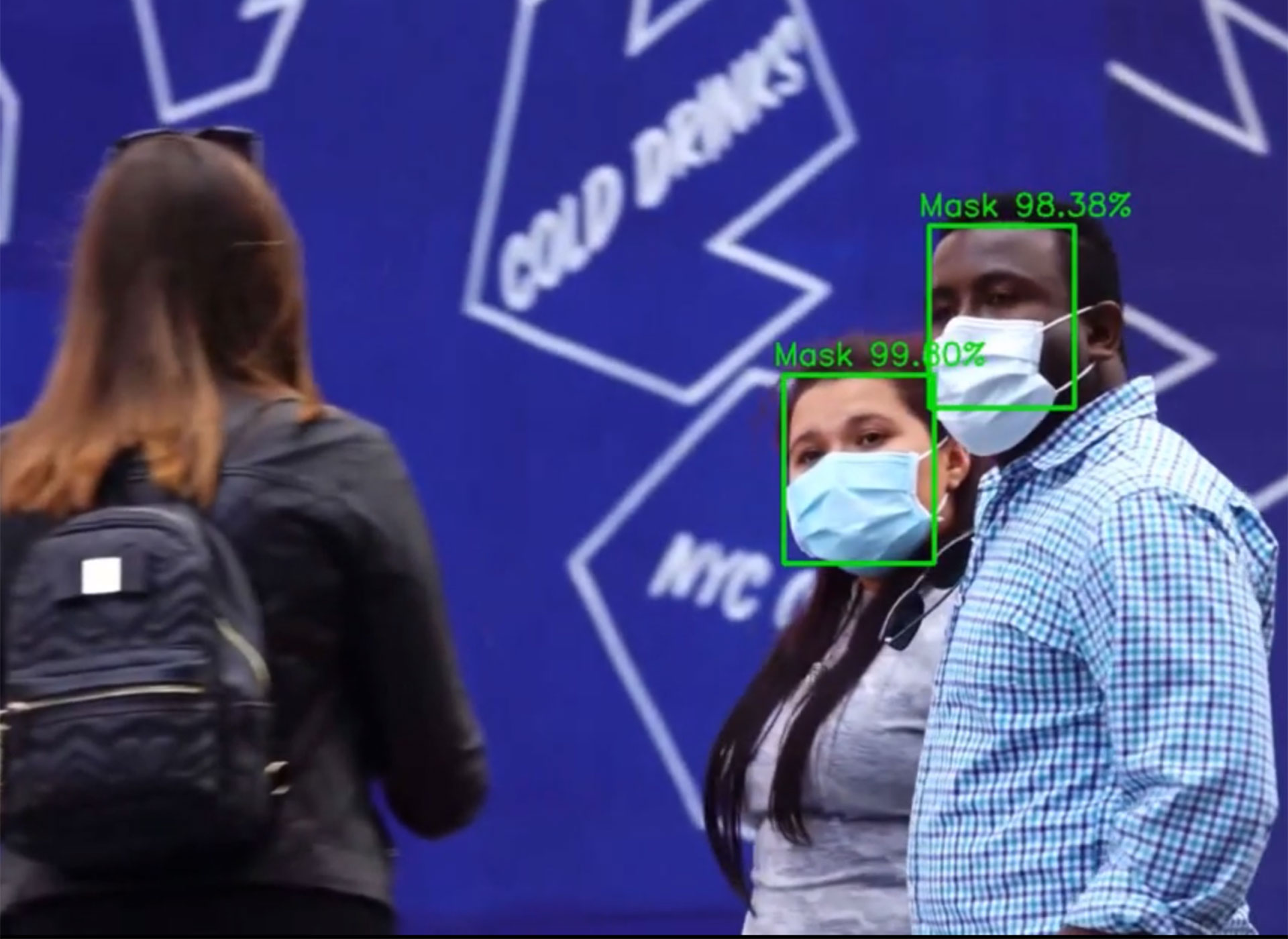 Facial recognition applied to social distancing, mask control