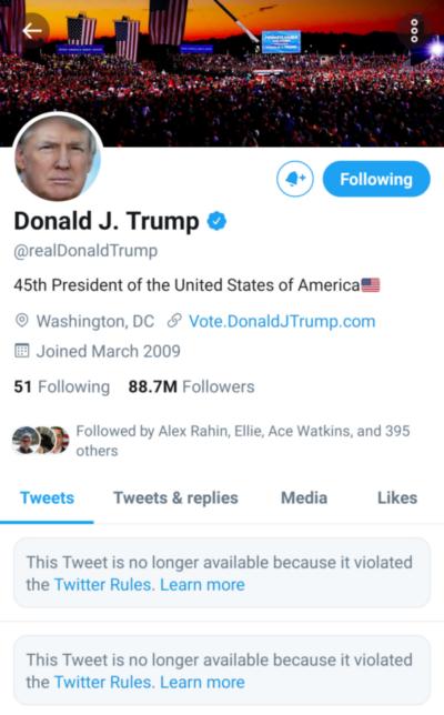 Trump Facebook Twitter suspended